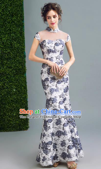 Chinese Traditional Printing Roses Cheongsam Wedding Bride Compere Chorus Full Dress for Women