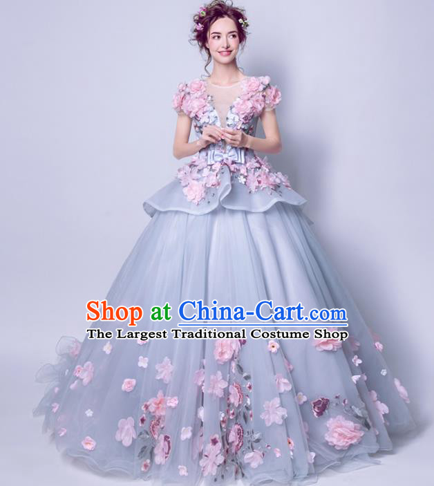 Handmade Bride Costume Princess Pink Peony Wedding Dress Fancy Wedding Gown for Women