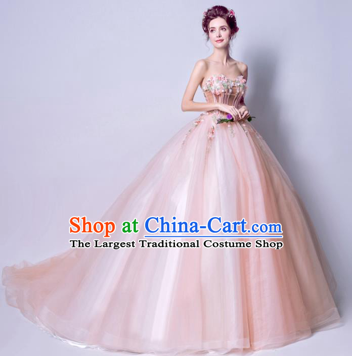 Handmade Bride Costume Princess Pink Wedding Dress Fancy Wedding Gown for Women
