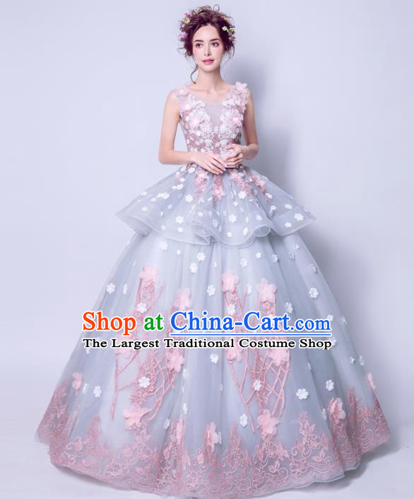 Handmade Bride Wedding Dress Princess Costume Blue Fancy Wedding Gown for Women