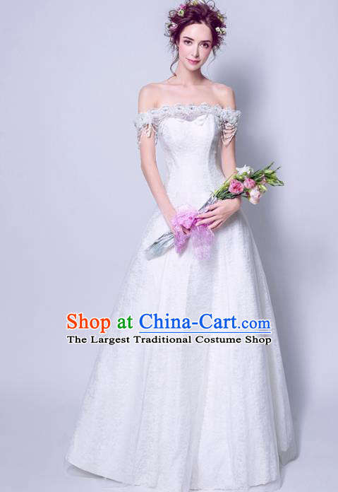Handmade Bride Off Shoulder Wedding Dress Princess Costume Fancy Wedding Gown for Women