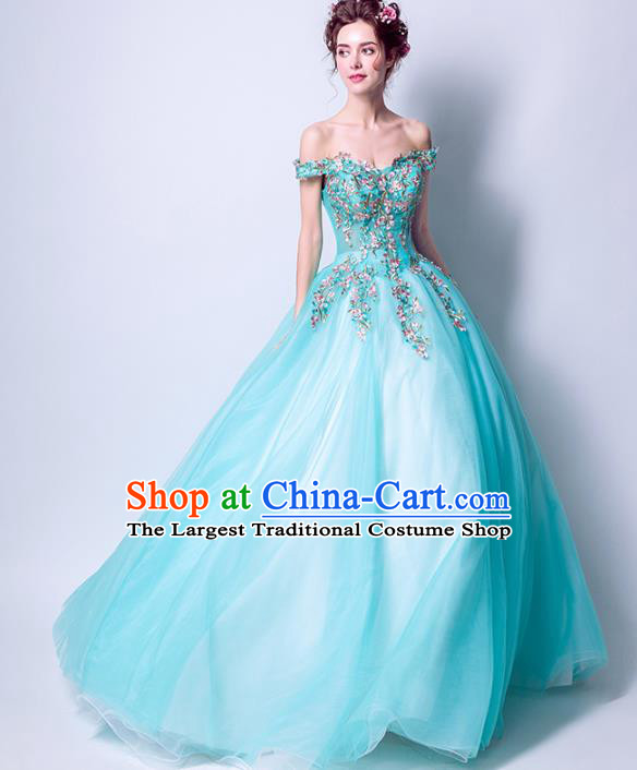 Handmade Bride Blue Veil Wedding Dress Princess Costume Fancy Wedding Gown for Women