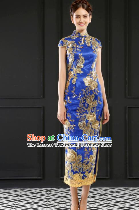 Chinese Traditional Embroidered Blue Cheongsam Wedding Bride Compere Chorus Full Dress for Women