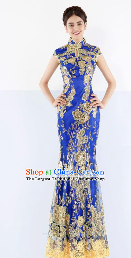 Chinese Traditional Embroidered Blue Mermaid Cheongsam Wedding Bride Compere Chorus Full Dress for Women