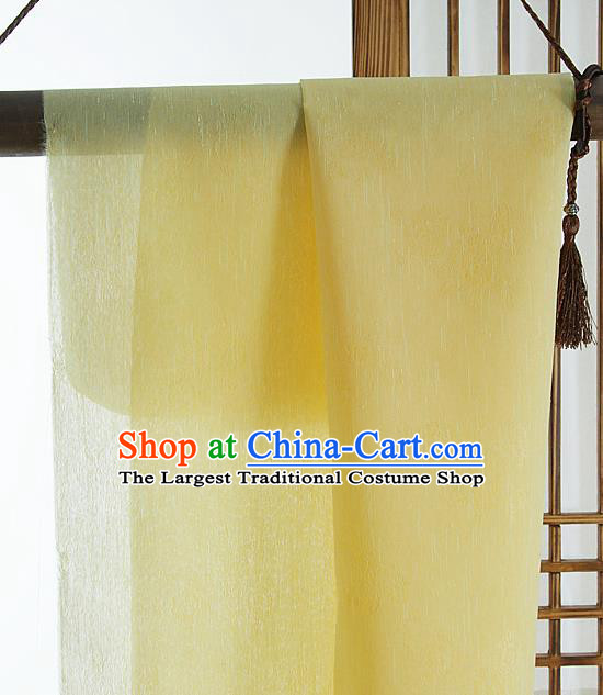 Asian Korean Traditional Yellow Tough Silk Fabric Hanbok Silk Material