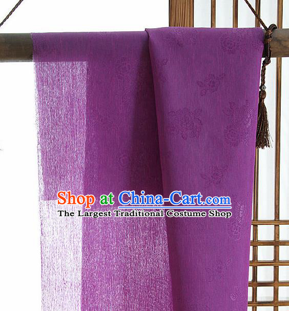 Asian Korean Traditional Deep Purple Tough Silk Fabric Hanbok Silk Material