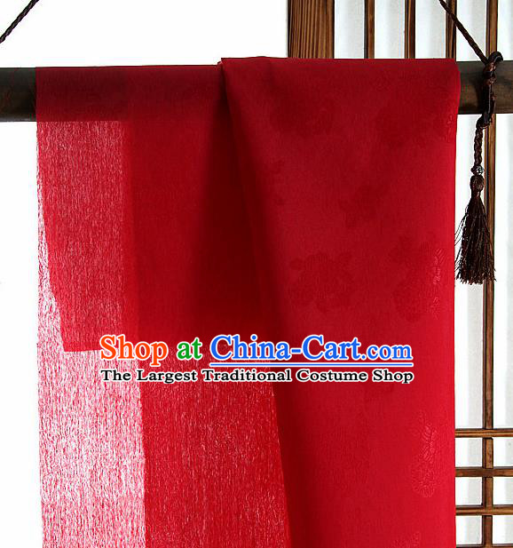 Asian Korean Traditional Red Tough Silk Fabric Hanbok Silk Material
