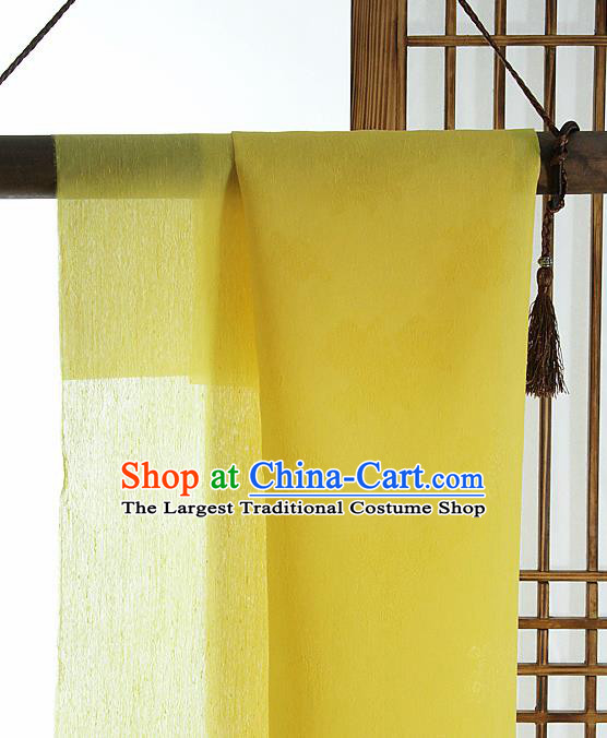 Asian Korean Traditional Lemon Yellow Tough Silk Fabric Hanbok Silk Material