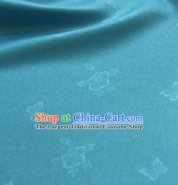Asian Korean Traditional Blue Tajung Fabric Classical Butterfly Pattern Silk Fabric Hanbok Thin Silk Material
