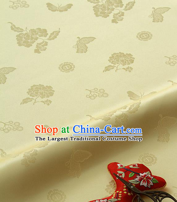 Asian Korean Traditional Yellow Brocade Fabric Classical Butterfly Peony Pattern Silk Fabric Hanbok Silk Material