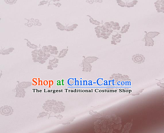 Asian Korean Traditional Light Pink Brocade Fabric Classical Butterfly Peony Pattern Silk Fabric Hanbok Silk Material