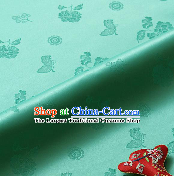 Asian Korean Traditional Green Brocade Fabric Classical Butterfly Peony Pattern Silk Fabric Hanbok Silk Material