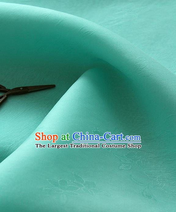 Asian Korean Traditional Lake Blue Tajung Fabric Classical Pattern Thin Tough Silk Fabric Hanbok Silk Material