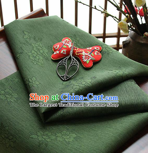 Asian Korean Traditional Olive Green Tajung Fabric Classical Pattern Thin Tough Silk Fabric Hanbok Silk Material