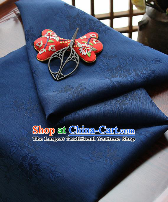 Asian Korean Traditional Deep Blue Tajung Fabric Classical Pattern Thin Tough Silk Fabric Hanbok Silk Material