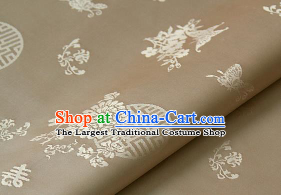 Asian Traditional Palace Drapery Korean Hanbok Royal Butterfly Pattern Khaki Brocade Satin Fabric