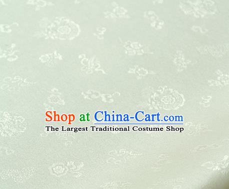 Asian Traditional Classical Pattern Palace Drapery Korean Hanbok White Brocade Satin Fabric