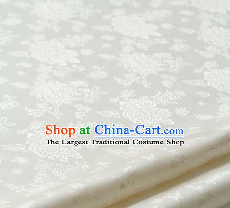 Asian Traditional Palace Drapery Korean Hanbok White Brocade Satin Fabric