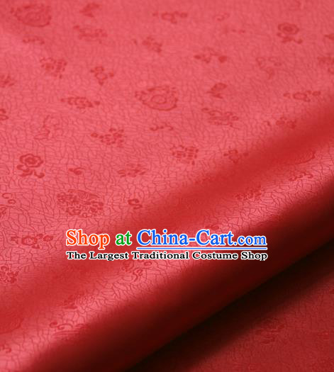 Asian Traditional Classical Pattern Palace Drapery Korean Hanbok Red Brocade Satin Fabric
