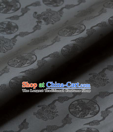 Asian Traditional Classical Dragons Pattern Palace Grey Satin Drapery Korean Hanbok Brocade Fabric
