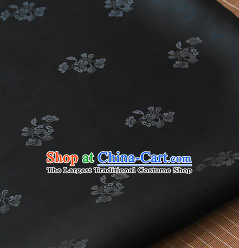 Asian Traditional Classical Pattern Black Satin Drapery Korean Hanbok Palace Brocade Fabric