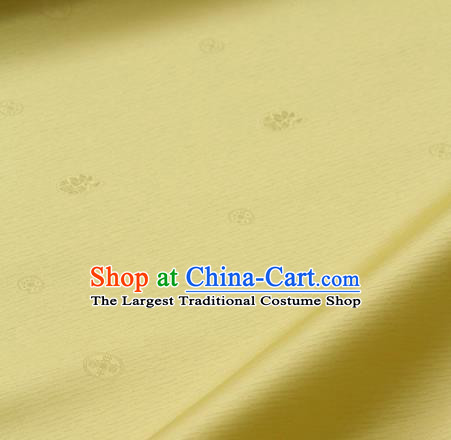 Asian Traditional Classical Pattern Yellow Silk Drapery Korean Hanbok Palace Brocade Fabric
