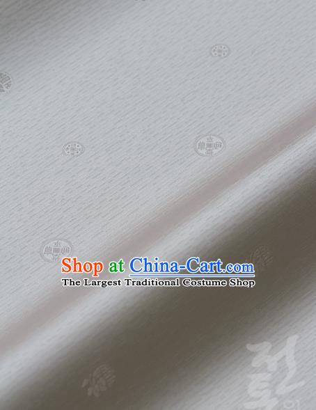 Asian Traditional Classical Pattern White Silk Drapery Korean Hanbok Palace Brocade Fabric