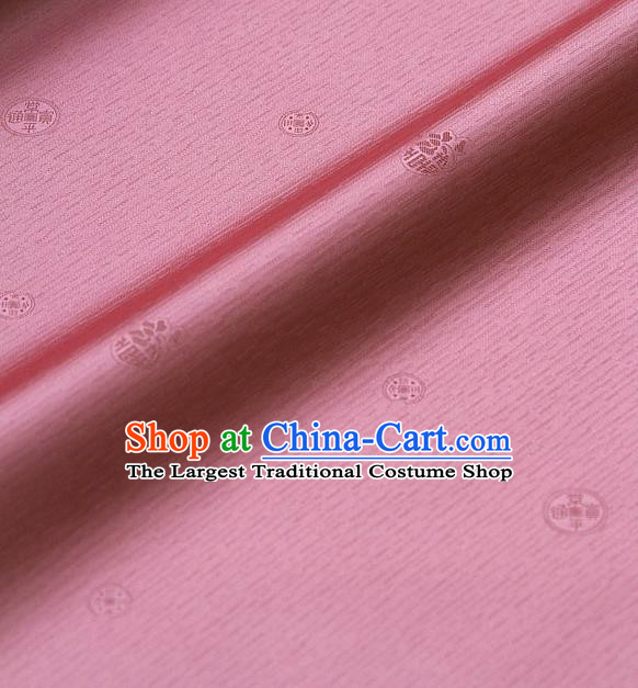 Asian Traditional Classical Pattern Peach Pink Silk Drapery Korean Hanbok Palace Brocade Fabric