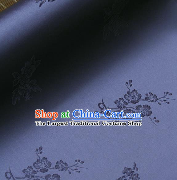 Asian Traditional Classical Wintersweet Pattern Purple Silk Drapery Korean Hanbok Palace Brocade Fabric