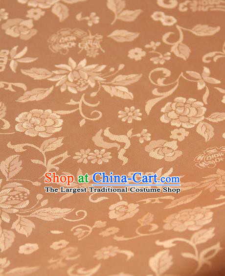 Asian Traditional Palace Drapery Korean Hanbok Royal Chrysanthemum Pattern Champagne Brocade Satin Fabric