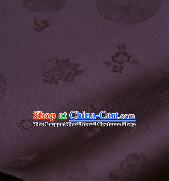 Asian Traditional Classical Pattern Purple Satin Drapery Korean Hanbok Palace Brocade Silk Fabric