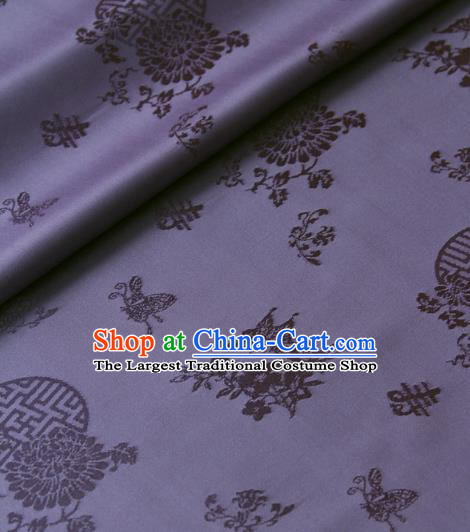 Asian Traditional Palace Drapery Korean Hanbok Royal Butterfly Pattern Purple Brocade Satin Fabric