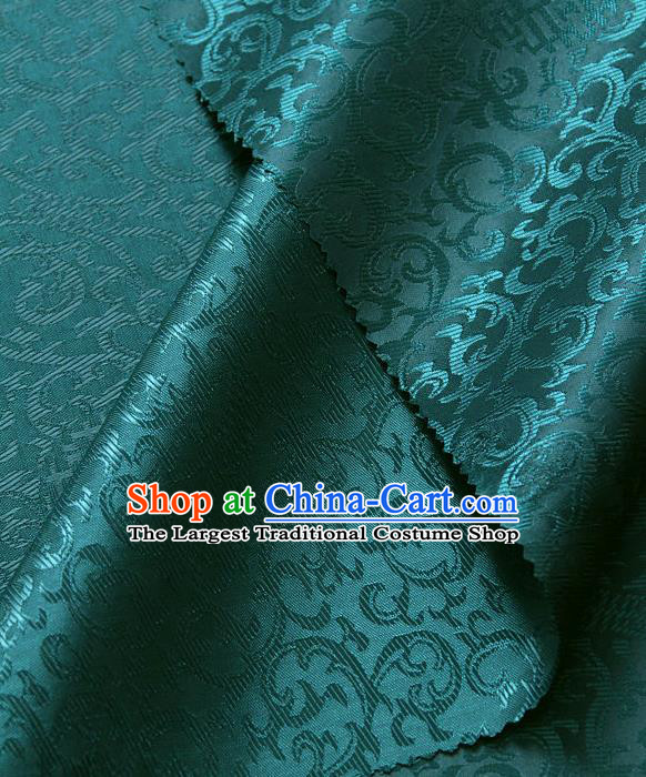 Asian Chinese Traditional Palace Drapery Chinese Royal Pattern Peacock Green Brocade Satin Fabric Tang Suit Silk Fabric Material