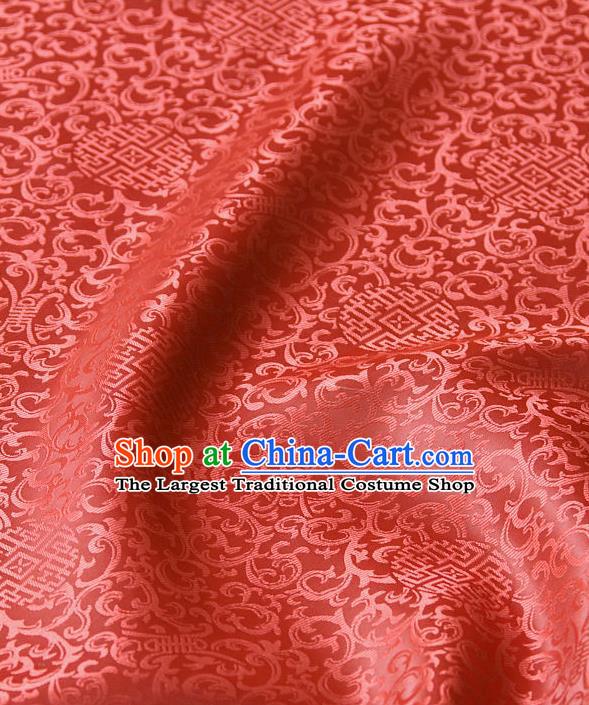 Asian Chinese Traditional Palace Drapery Chinese Royal Pattern Watermelon Red Brocade Satin Fabric Tang Suit Silk Fabric Material