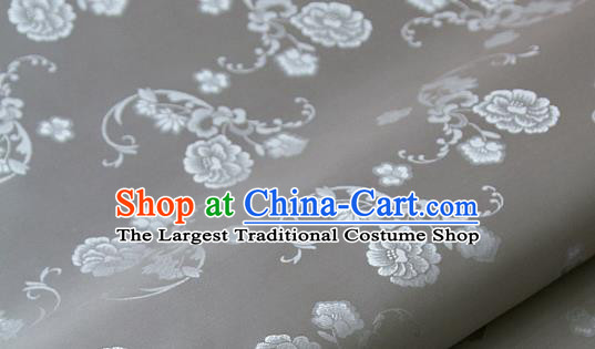 Asian Korean Ancient Costume Grey Brocade Traditional Palace Pattern Satin Fabric Silk Fabric Material
