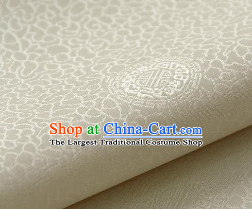 Asian Korean Ancient Costume White Brocade Traditional Palace Pattern Satin Fabric Silk Fabric Material