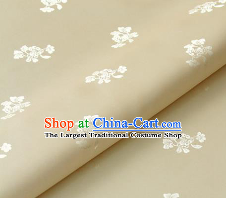 Asian Korean Ancient Costume Beige Brocade Traditional Palace Pattern Satin Fabric Silk Fabric Material