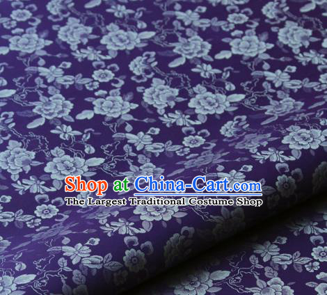 Asian Korean Ancient Costume Purple Brocade Traditional Palace Pattern Satin Fabric Silk Fabric Material