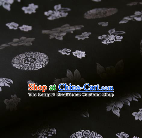 Asian Korean Ancient Costume Black Brocade Traditional Palace Pattern Satin Fabric Silk Fabric Material