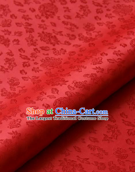 Asian Korean Classical Red Brocade Traditional Palace Pattern Satin Fabric Silk Fabric Material