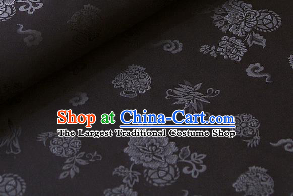 Asian Korean Classical Black Brocade Traditional Palace Peony Pattern Satin Fabric Silk Fabric Material