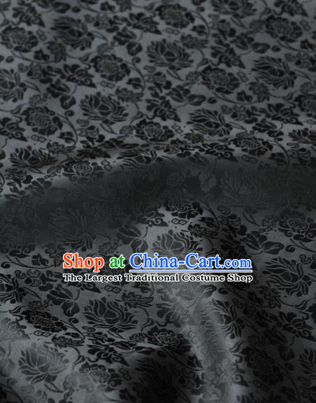Asian Korean Classical Brocade Traditional Palace Pattern Black Satin Fabric Silk Fabric Material