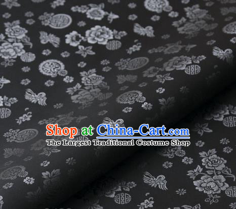Asian Korean Classical Brocade Traditional Palace Pattern Grey Satin Fabric Silk Fabric Material