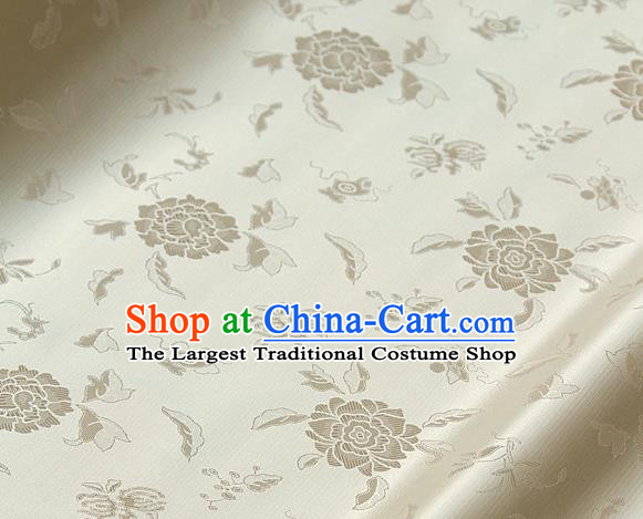Asian Traditional Classical Pattern Beige Satin Drapery Korean Hanbok Palace Brocade Silk Fabric