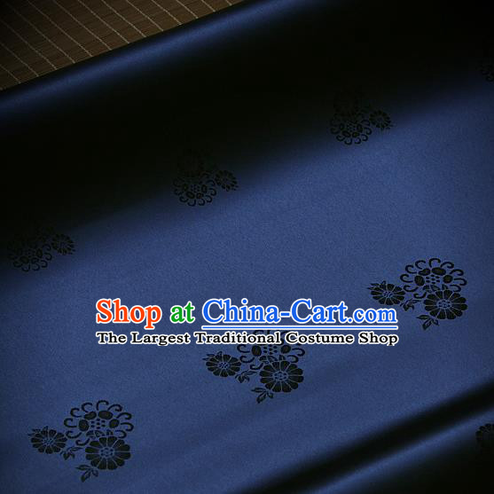 Asian Traditional Navy Satin Classical Pattern Drapery Korean Hanbok Palace Brocade Silk Fabric