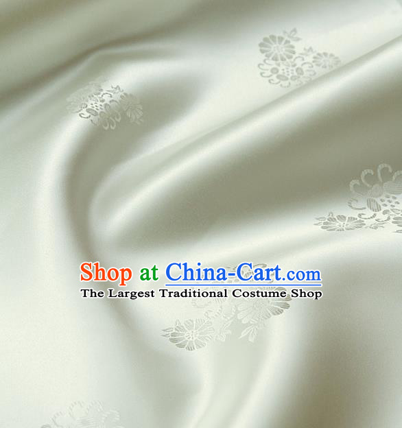 Asian Traditional Beige Satin Classical Pattern Drapery Korean Hanbok Palace Brocade Silk Fabric