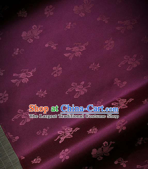 Asian Traditional Purple Satin Classical Pattern Drapery Korean Hanbok Palace Brocade Silk Fabric