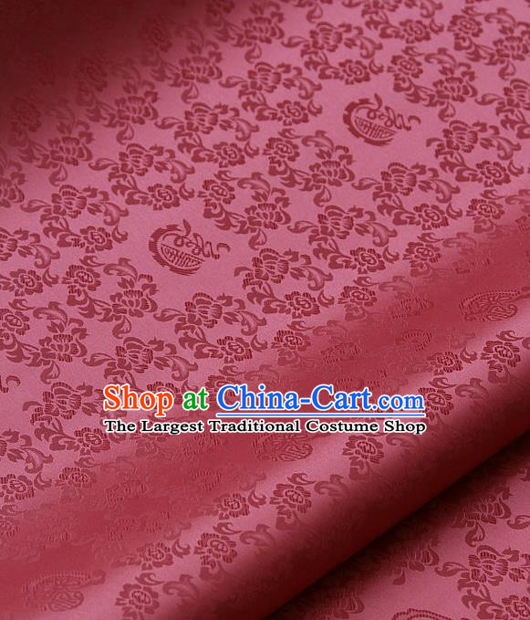 Traditional Asian Peach Pink Satin Classical Pattern Drapery Korean Hanbok Palace Brocade Silk Fabric