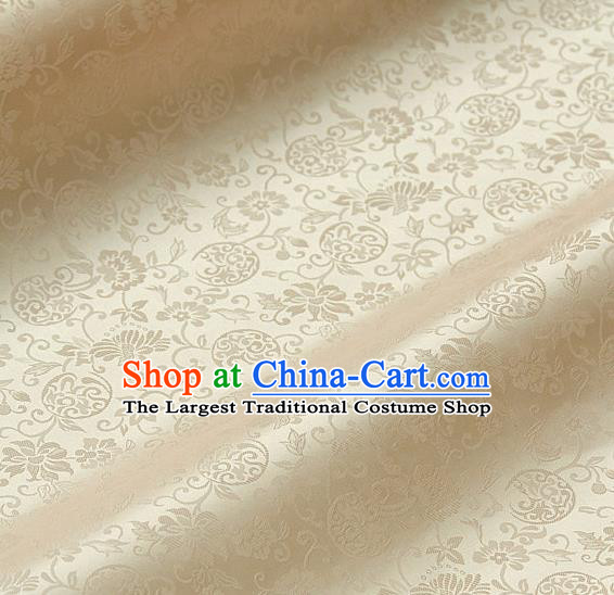 Traditional Asian Golden Satin Classical Pattern Drapery Korean Hanbok Palace Brocade Silk Fabric