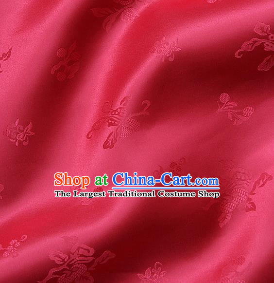 Traditional Asian Watermelon Red Satin Classical Pattern Drapery Korean Hanbok Palace Brocade Silk Fabric